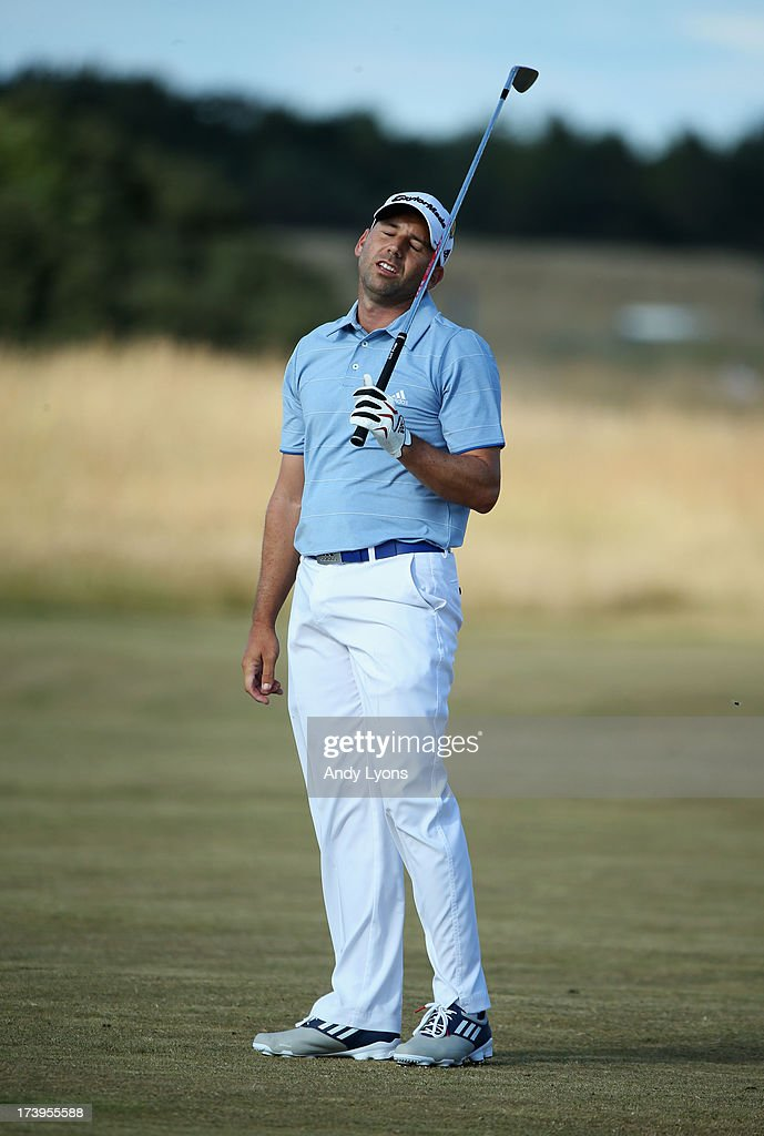 Sergio Garcia of Spain reacts to a shot on the 15th during the first round of the 142nd Open Championship at Muirfield on July 18, 2013 in Gullane, Scotland.