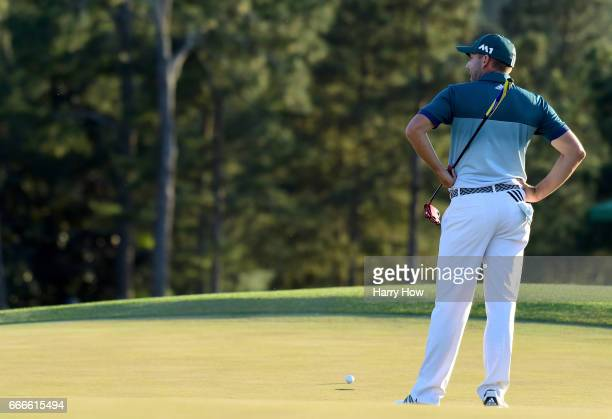 Sergio Garcia of Spain reacts to his missed putt on the 18th hole during the final round of the 2017 Masters Tournament at Augusta National Golf Club...