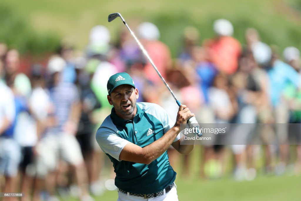 Sergio Garcia of Spain reacts to his second shot on the 18th hole during the third round of THE PLAYERS Championship at the Stadium course at TPC Sawgrass on May 13, 2017 in Ponte Vedra Beach, Florida.