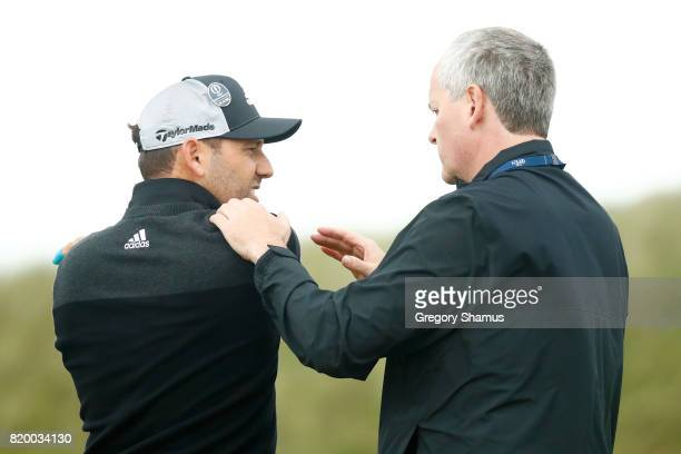 Sergio Garcia of Spain receives assistance from the physio on the 8th tee during the second round of the 146th Open Championship at Royal Birkdale on...