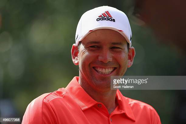 Sergio Garcia of Spain smiles on the first tee during the third round of the WGC HSBC Champions at the Sheshan International Golf Club on November 7...