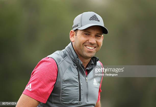 Sergio Garcia of Spain smiles on the practice ground prior to his first round of the Commercial Bank Qatar Masters at Doha Golf Club on January 27...
