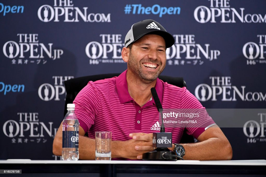 Sergio Garcia of Spain speaks to the media at a press conference during a practice round prior to the 146th Open Championship at Royal Birkdale on July 17, 2017 in Southport, England.