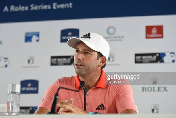 Sergio Garcia of Spain speaks to the media during a press conference prior to the DP World Tour Championship at Jumeirah Golf Estates on November 14...