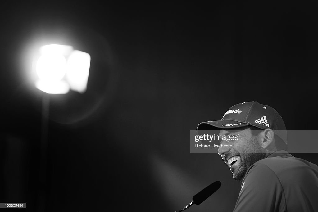 Sergio Garcia of Spain talks to the media in a press conference after the pro-am for the Open de Espana at Parador de El Saler on April 17, 2013 in Valencia, Spain.