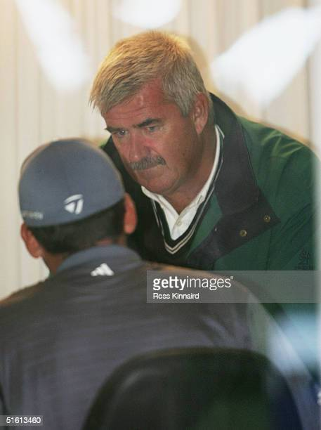 Sergio Garcia of Spain talks with John Paramor the European Tour Chief Referee in the recorders cabin after the second round of the 2004 Volvo...