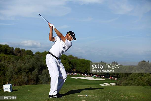 Sergio Garcia of Spain tee's off at the 15th during the final round of the Andalucia Masters at Valderrama on October 30 2011 in Sotogrande Spain