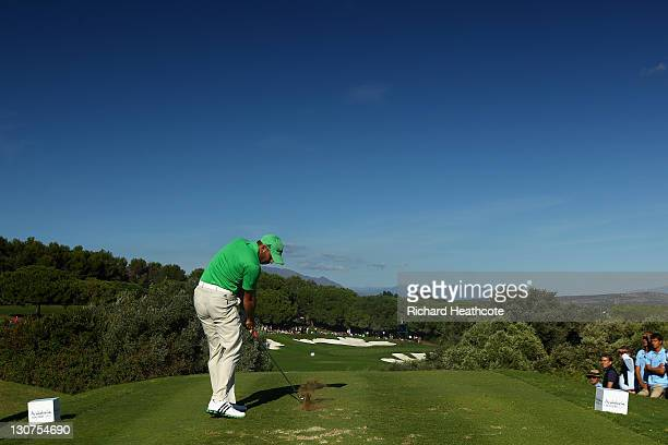 Sergio Garcia of Spain tee's off at the 15th during the third round of the Andalucia Masters at Valderrama on October 29 2011 in Sotogrande Spain