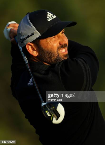 Sergio Garcia of Spain tees off on the 14th hole during the third round of the Omega Dubai Desert Classic on the Majlis Course at Emirates Golf Club...