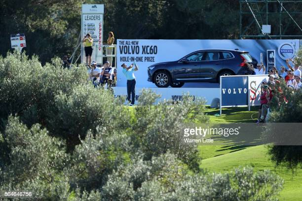 Sergio Garcia of Spain tees off on the 15th hole during day three of the Andalucia Valderrama Masters at Real Club Valderrama on October 21 2017 in...