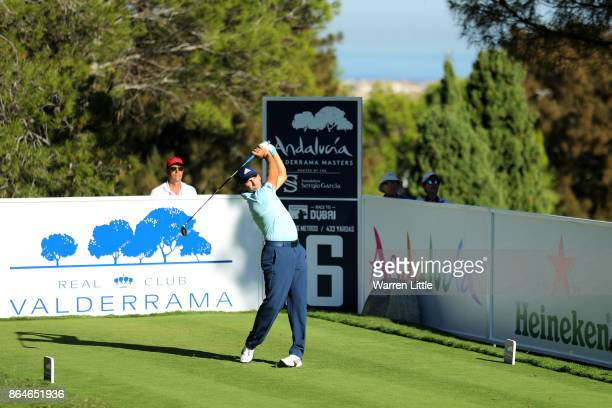 Sergio Garcia of Spain tees off on the 16th hole during day three of the Andalucia Valderrama Masters at Real Club Valderrama on October 21 2017 in...