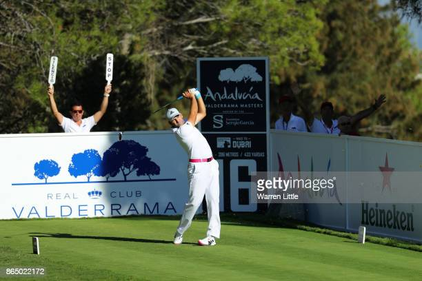 Sergio Garcia of Spain tees off on the 16th hole during the final round of of the Andalucia Valderrama Masters at Real Club Valderrama on October 22...