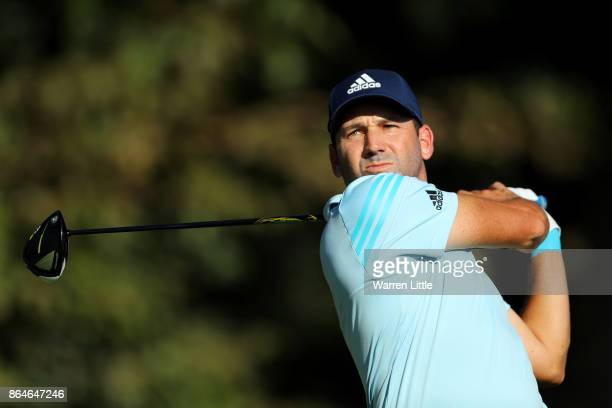 Sergio Garcia of Spain tees off on the 17th hole during day three of the Andalucia Valderrama Masters at Real Club Valderrama on October 21 2017 in...