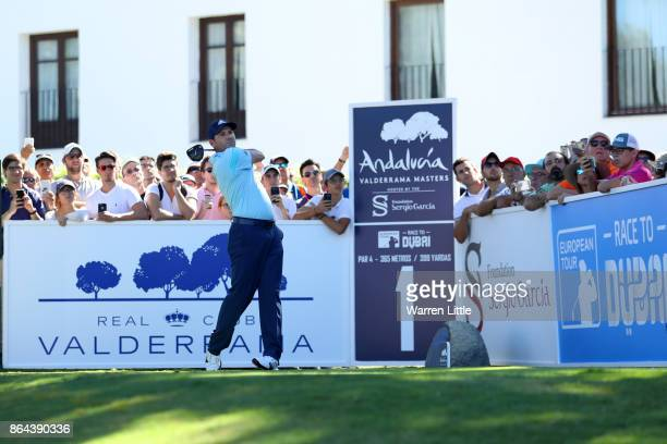 Sergio Garcia of Spain tees off on the 1st hole during day three of the Andalucia Valderrama Masters at Real Club Valderrama on October 21 2017 in...