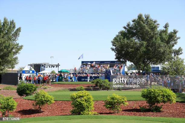 Sergio Garcia of Spain tees off on the 1st hole during the final round of the DP World Tour Championship at Jumeirah Golf Estates on November 19 2017...