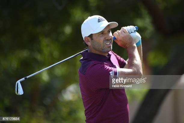 Sergio Garcia of Spain tees off on the 4th hole during the final round of the DP World Tour Championship at Jumeirah Golf Estates on November 19 2017...