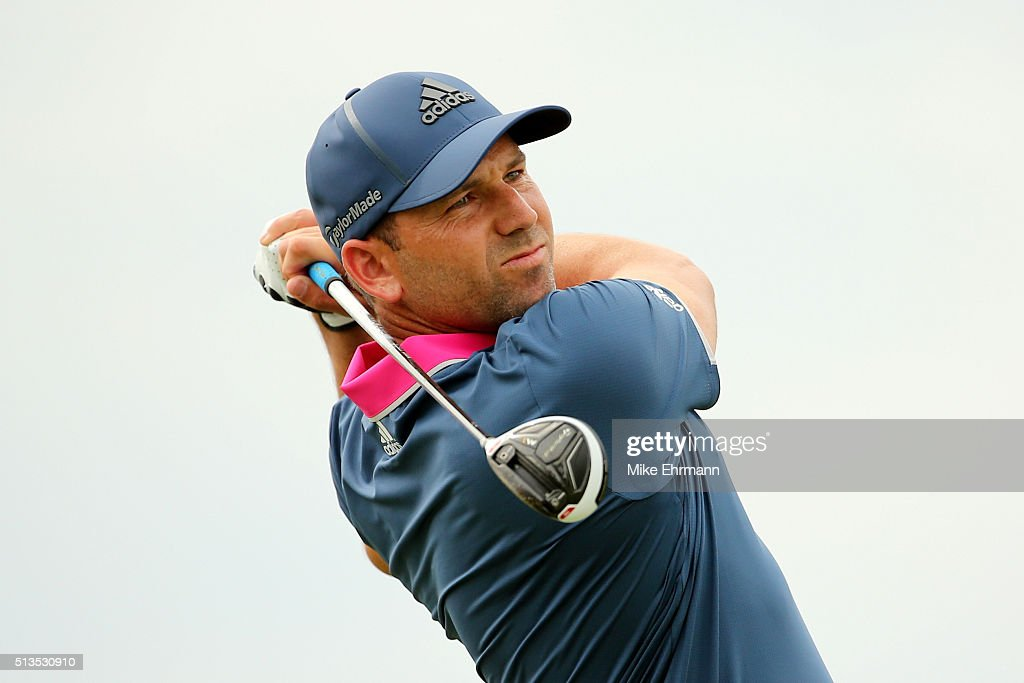 Sergio Garcia of Spain tees off on the third hole during the first round of the World Golf ChampionshipsCadillac Championship at Trump National Doral...