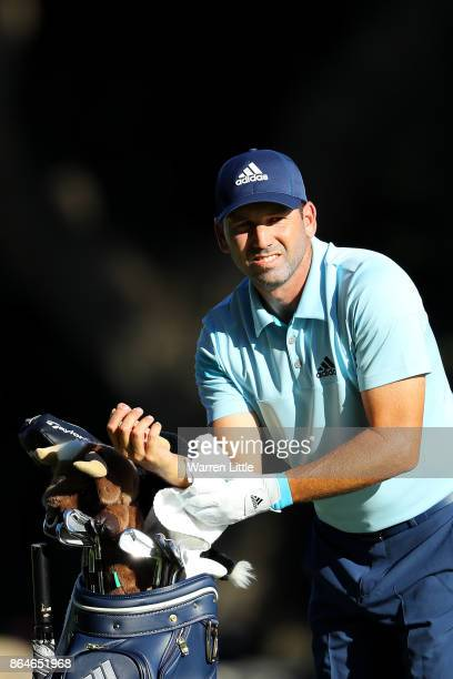 Sergio Garcia of Spain waits on the 16th hole during day three of the Andalucia Valderrama Masters at Real Club Valderrama on October 21 2017 in...