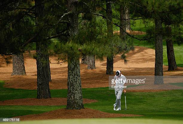 Sergio Garcia of Spain waits on the seventh hole during the second round of the 2015 Masters Tournament at Augusta National Golf Club on April 10...