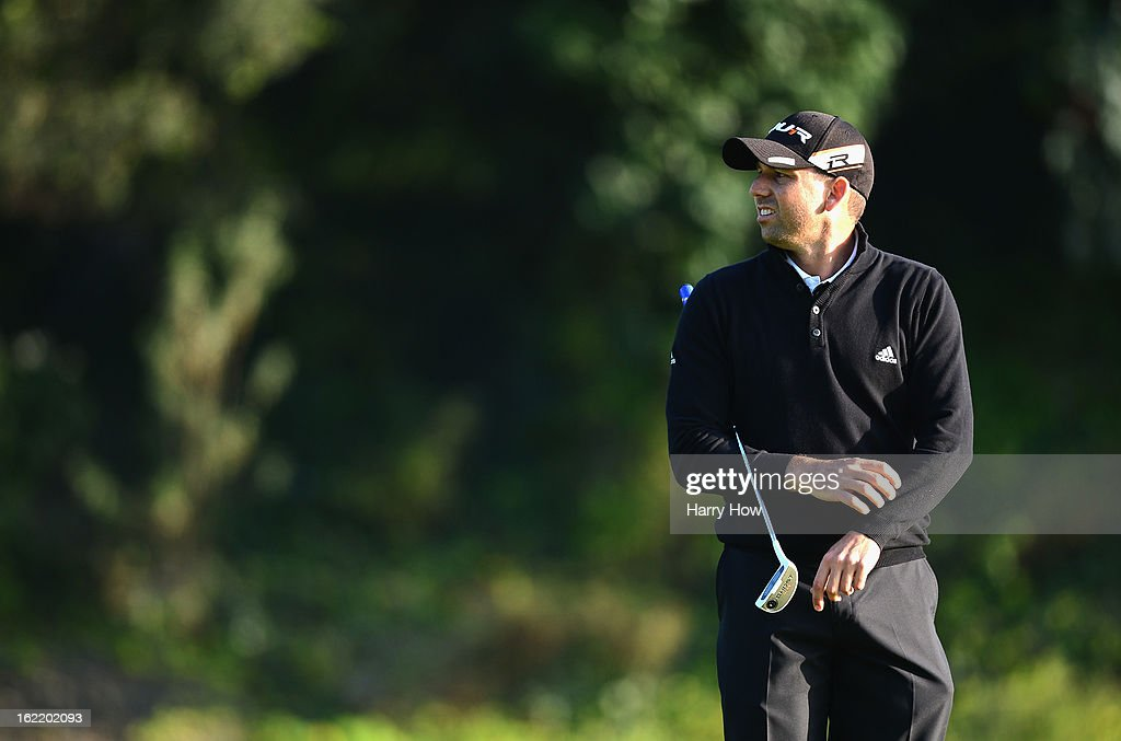 Sergio Garcia of Spain waits to putt on the seventh green during the first round of the Northern Trust Open at the Riviera Country Club on February 14, 2013 in Pacific Palisades, California.