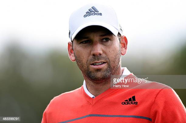 Sergio Garcia of Spain walks off a tee box during a practice round prior to the start of the 2014 Masters Tournament at Augusta National Golf Club on...