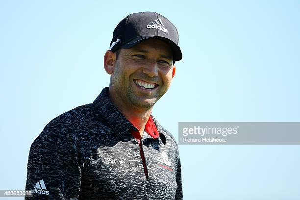 Sergio Garcia of Spain walks off a tee during a practice round prior to the 2015 PGA Championship at Whistling Straits on August 11 2015 in Sheboygan...