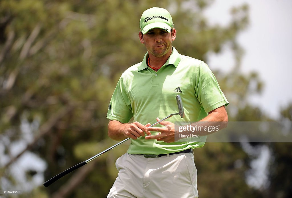 Sergio Garcia of Spain walks off the first green after a bogey during the first round of the 108th US Open at the Torrey Pines Golf Course on June 12...