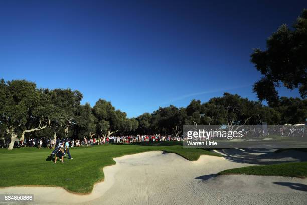 Sergio Garcia of Spain walks to the 18th green during day three of the Andalucia Valderrama Masters at Real Club Valderrama on October 21 2017 in...