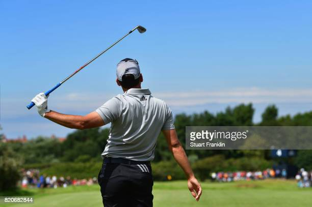Sergio Garcia of Spain watches his tee shot on the 4th hole during the third round of the 146th Open Championship at Royal Birkdale on July 22 2017...