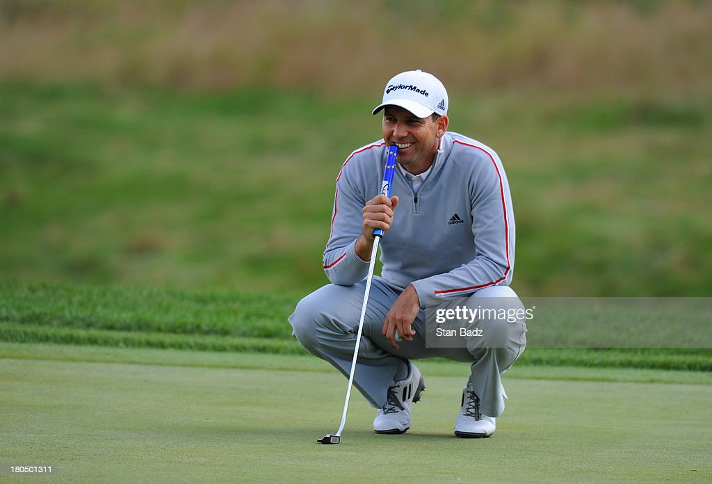 Sergio Garcia of Spain watches play on the seventh hole during the second round of the BMW Championship at Conway Farms Golf Club on September 13, 2013 in Lake Forest, Illinois.