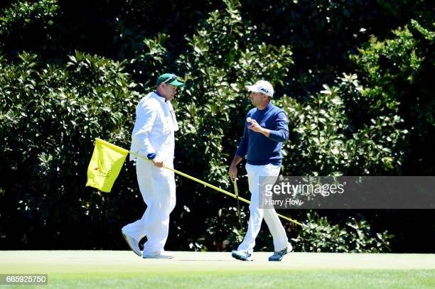 Sergio Garcia of Spain waves on the 11th green the during the second round of the 2017 Masters Tournament at Augusta National Golf Club on April 7...