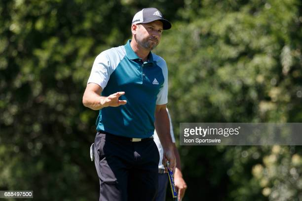 Sergio Garcia of Spain waves to gallery after sinking a putt on during the first round of the Dean Deluca Invitational on May 25 2017 at Colonial...