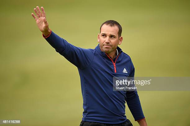 Sergio Garcia of Spain waves to the crowd on the 18th hole during the final round of the 144th Open Championship at The Old Course on July 20 2015 in...