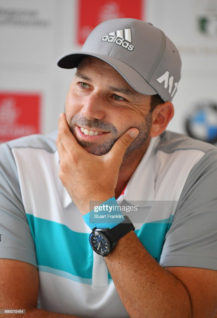 Sergio Garcia of Spain wears a wrist strapping as he looks on during a press conference ahead of the Italian Open at Golf Club Milano - Parco Reale di Monza on October 11, 2017 in Monza, Italy.