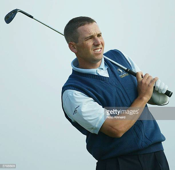 Sergio Garcia of the Continental Europe team during the first days play of The Seve Trophy on November 6 2003 at El Saler Golf Club in Valencia Spain