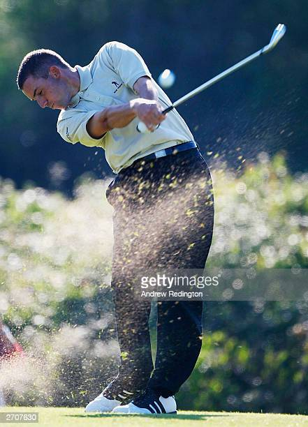 Sergio Garcia of the Continental Europe team hits his teeshot on the 12th hole during the second day's play at The Seve Trophy on November 7 2003 at...