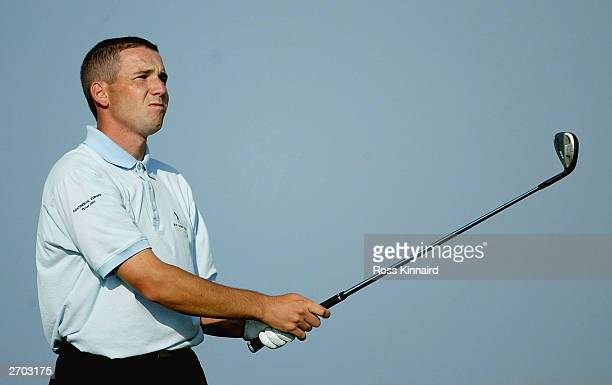 Sergio Garcia of the Continental Europe team plays his second shot on the par four 16th hole during the first days play of The Seve Trophy on...
