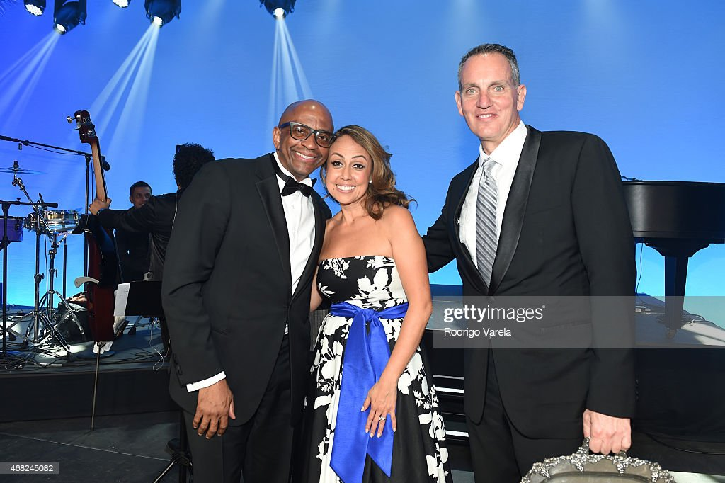 Sergio George, BMI Vice President, Latin Writer/Publisher Relations Delia Orjuela and BMI President and CEO Mike O'Neill onstage at BMI's 22nd Annual Latin Music Awards at Fountainbleau Miami Beach on March 31, 2015 in Miami Beach, Florida.