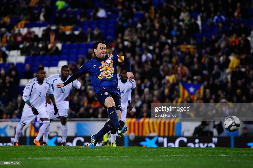 Sergio Gonzalez of Catalonia scores his team's first goal during a friendly match between Catalonia and Nigeria at Cornella-El Prat Stadium on January 2, 2013 in Barcelona, Spain.