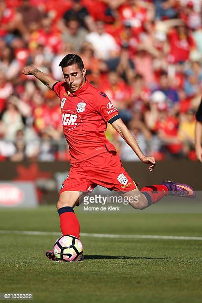 Sergio Guardiola of Adelaide United takes a penalty kick to score a goal during the round five ALeague match between Adelaide United and the Central...