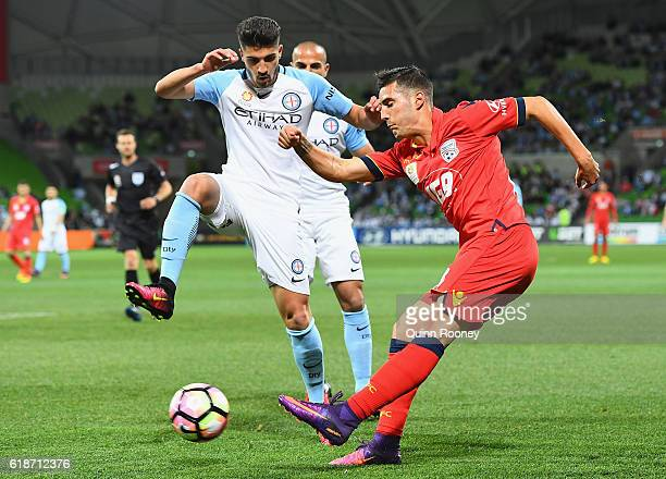 Sergio Guardiola of United passes the ball during the round four ALeague match between Melbourne City and Adelaide United at AAMI Park on October 28...