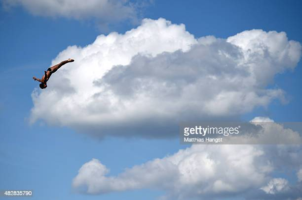 Sergio Guzman Ruvalcaba of Mexico competes in the Men's High Diving 27m preliminary round on day ten of the 16th FINA World Championships at the...