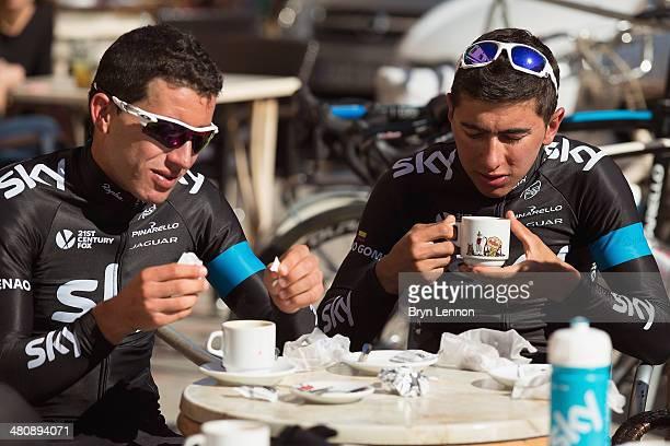 Sergio Henao and Sebastian Henao of Team SKY enjoy a cafe stop on a training ride on February 4 2014 in Palma de Mallorca Spain