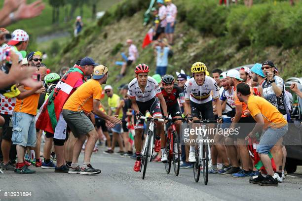 Sergio Henao Montoya of Colombia riding for Team Sky and Jarlinson Pantano Gomez of Colombia riding for Trek Segafredo in action during stage 12 of...