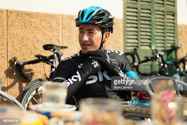 Sergio Henao of Team SKY enjoys a cafe stop during a training ride on February 3 2014 in Palma de Mallorca Spain
