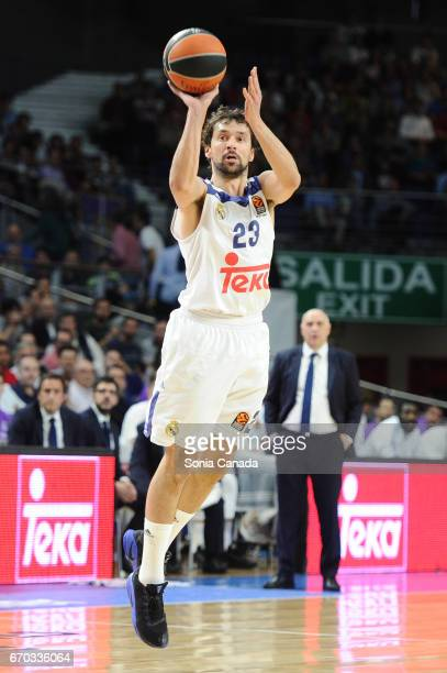 Sergio Llull #23 guard of Real Madrid during the 2016/2017 Turkish Airlines Euroleague Play Off Leg One between Real Madrid v Darussafaka Dogus...