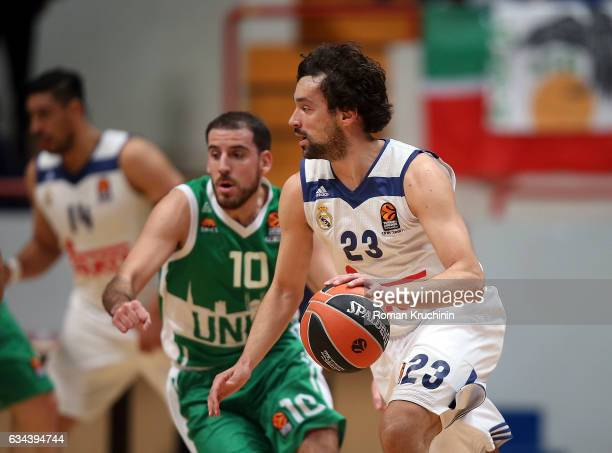 Sergio Llull #23 of Real Madrid competes with Quino Colom #10 of Unics Kazan during the 2016/2017 Turkish Airlines EuroLeague Regular Season Round 22...