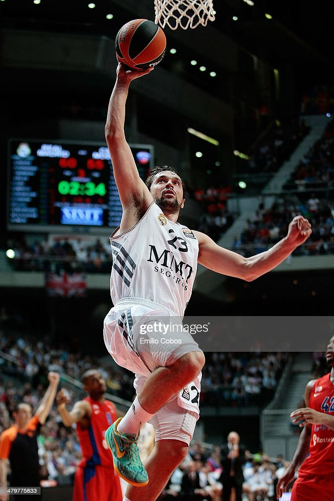 <a gi-track='captionPersonalityLinkClicked' href=/galleries/search?phrase=Sergio+Llull&family=editorial&specificpeople=4537823 ng-click='$event.stopPropagation()'>Sergio Llull</a>, #23 of Real Madrid in action during the 2013-2014 Turkish Airlines Euroleague Top 16 Date 11 game between Real Madrid v CSKA Moscow at Palacio Deportes Comunidad de Madrid on March 20, 2014 in Madrid, Spain.