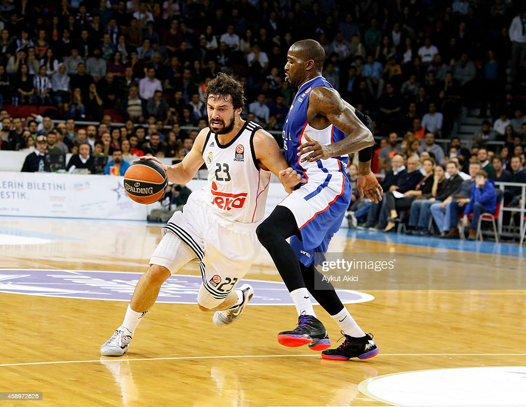 Sergio Llull #23 of Real Madrid in action during the 20142015 Turkish Airlines Euroleague Basketball Regular Season Date 5 game between Anadolu Efes...