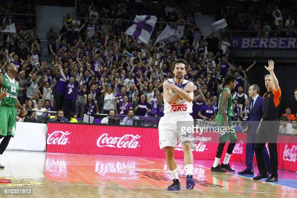 Sergio Llull #23 of Real Madrid in action during the 2016/2017 Turkish Airlines EuroLeague Playoffs leg 1 game between Real Madrid v Darussafaka...